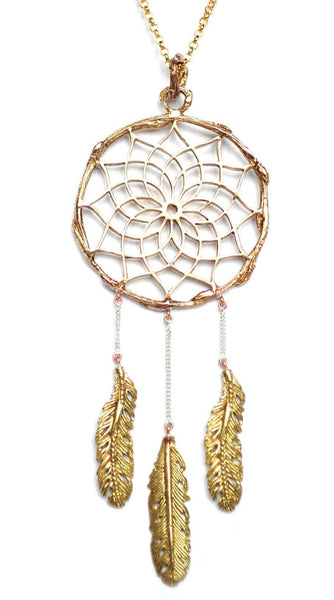 Bronze Dreamcatcher Necklace
