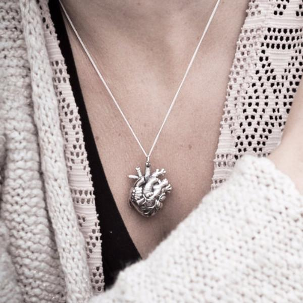 small silver human heart pendant locket