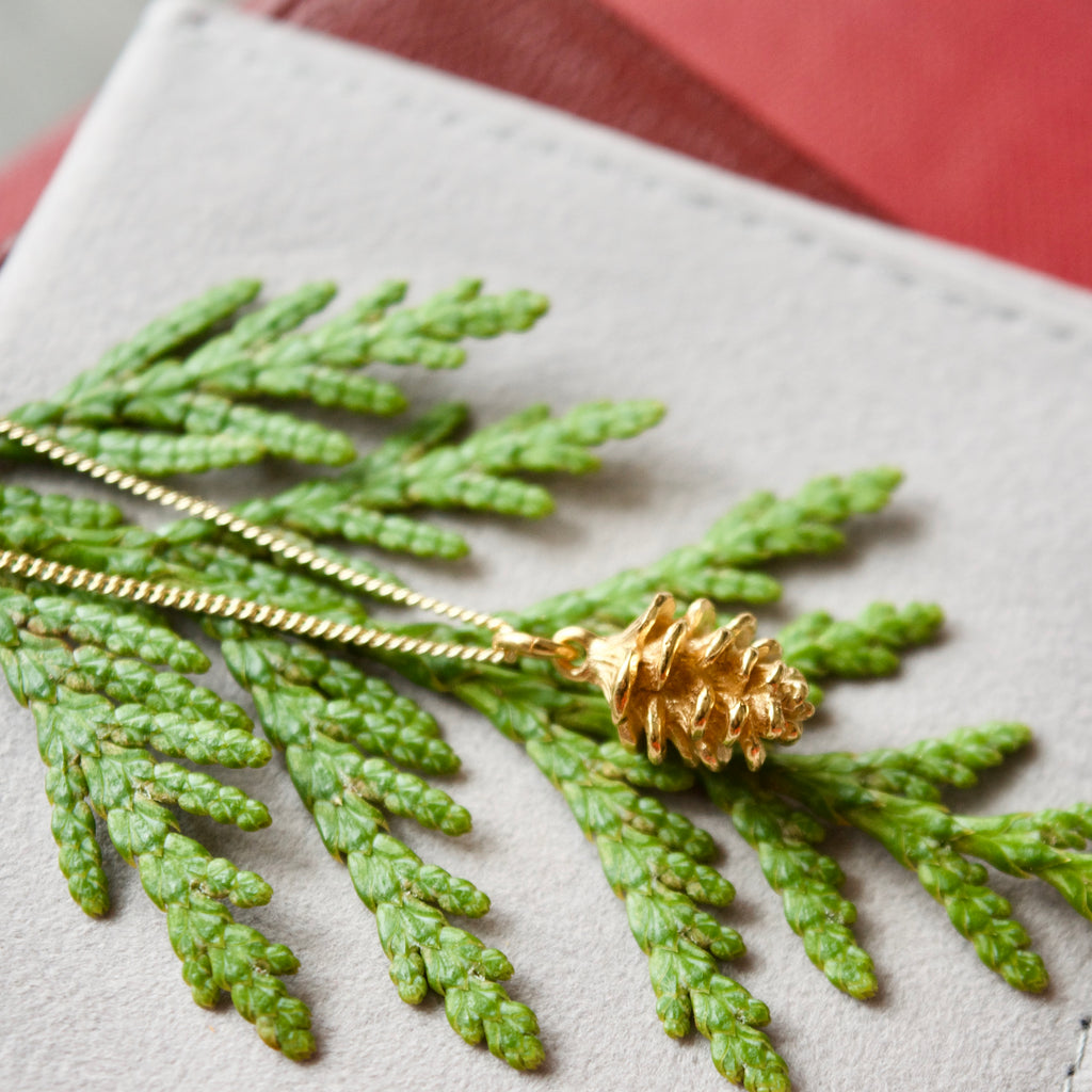 Yellow Gold Tiny Pinecone Charm Necklace