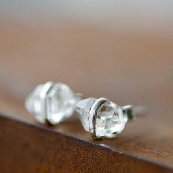 Herkimer Wire Wrapped Stud Earrings
