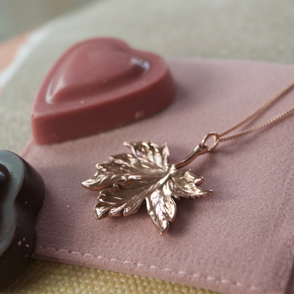 Canadian Maple Leaf Necklace Rose Gold