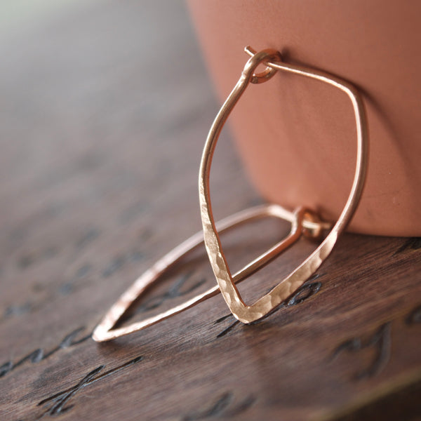 Power Hoop Hammered Earrings Rose Gold