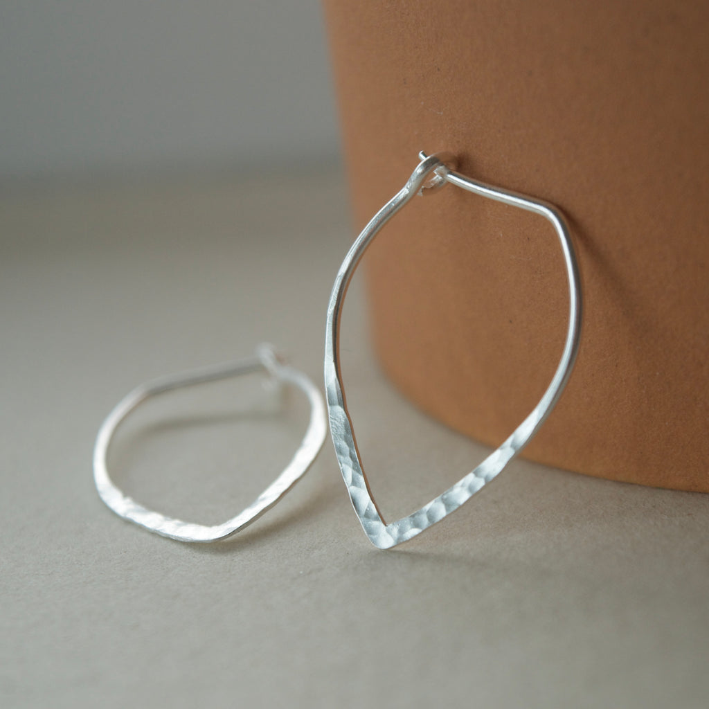 Power Hoop Hammered Earrings Silver
