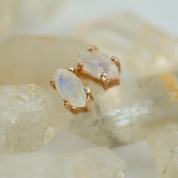 Moonstone Marquise Stud Earrings