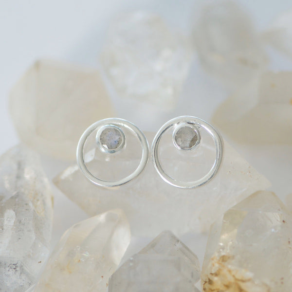 Circle Labradorite Stud Earrings