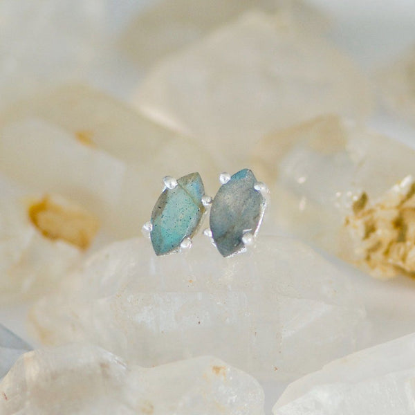 Labradorite Marquise Stud Earrings