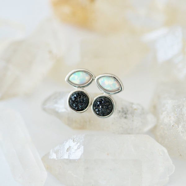 opal and black druzy stud earrings