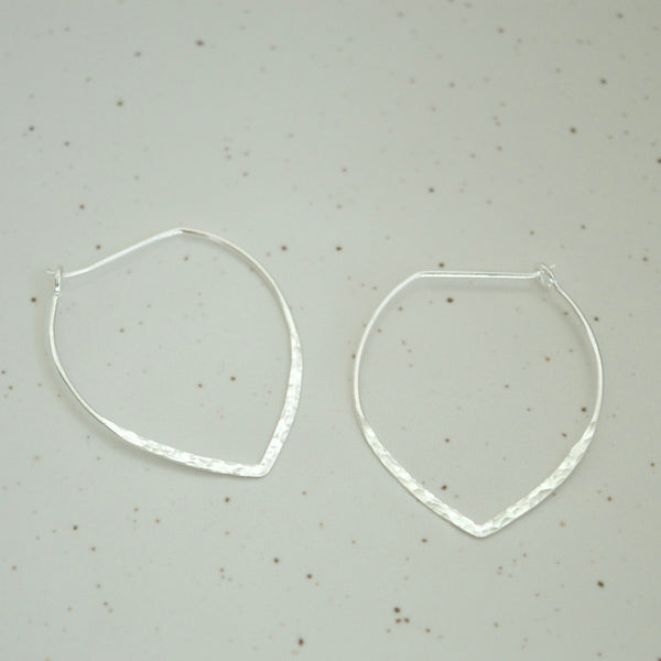 Large Power Hoop Hammered Earrings Silver