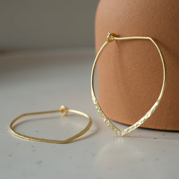 Large Power Hoop Hammered Earrings Yellow Gold