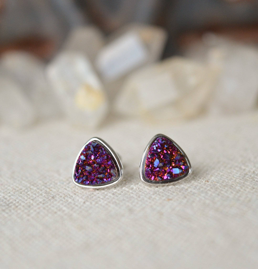 Purple Druzy Stud Earrings