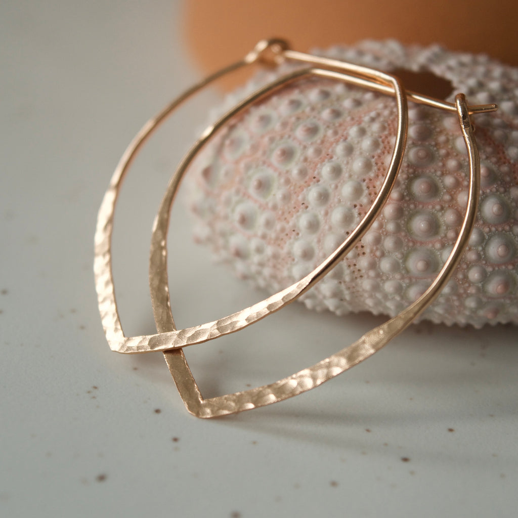 Large Power Hoop Hammered Earrings Rose Gold