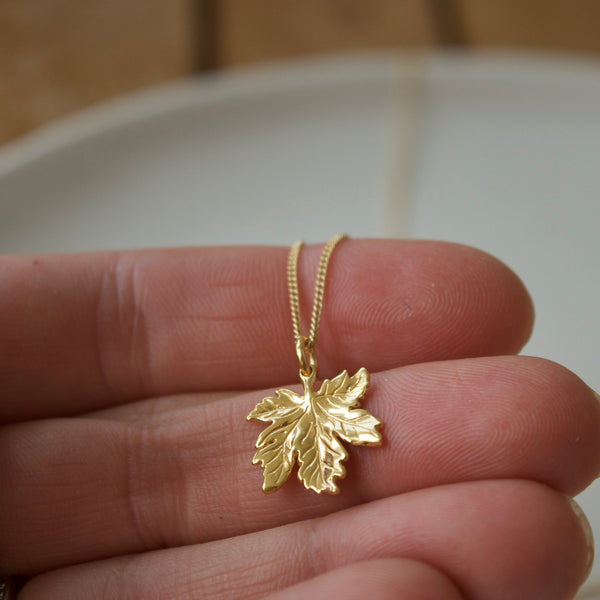 Tiny Canadian Maple Leaf Necklace Yellow Gold