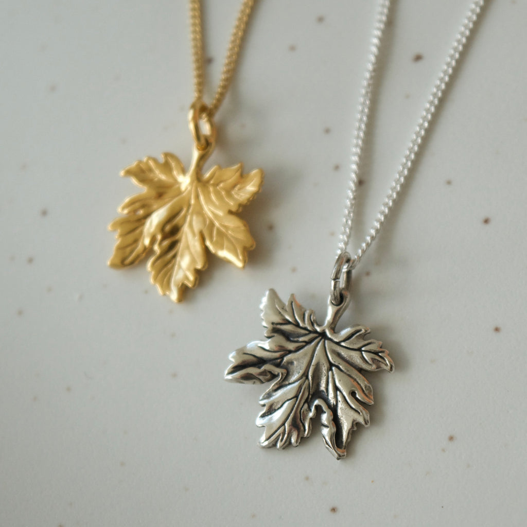 Tiny Canadian Maple Leaf Necklace Silver