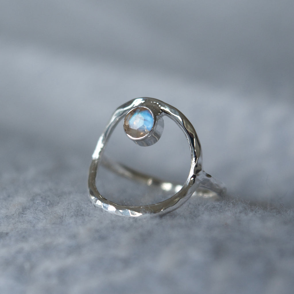 Circle Labradorite Ring Silver