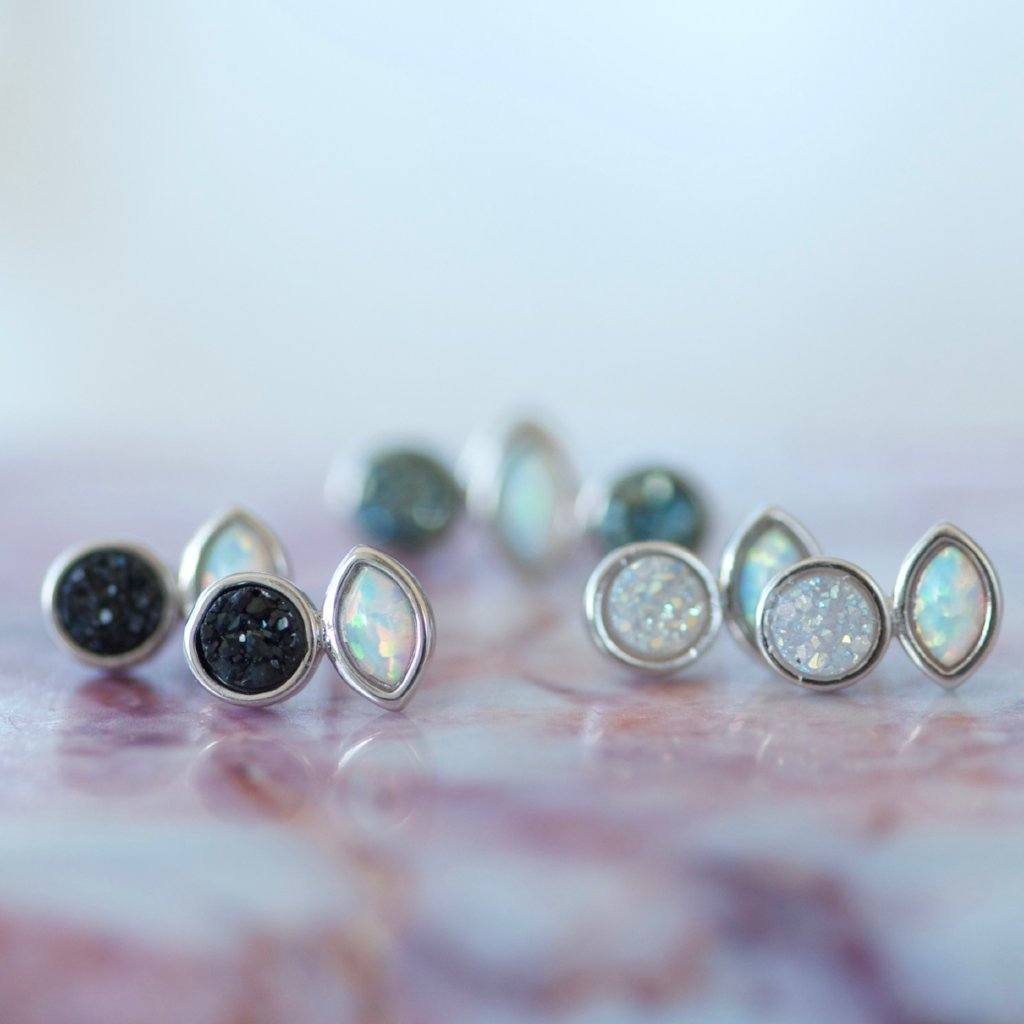 Druzy Black Opal Stud Earrings