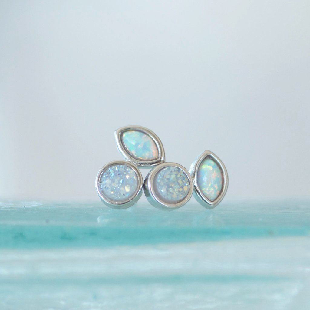 White opal and druzy stud earrings