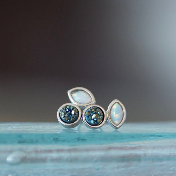 Druzy Turquoise Opal Stud Earrings