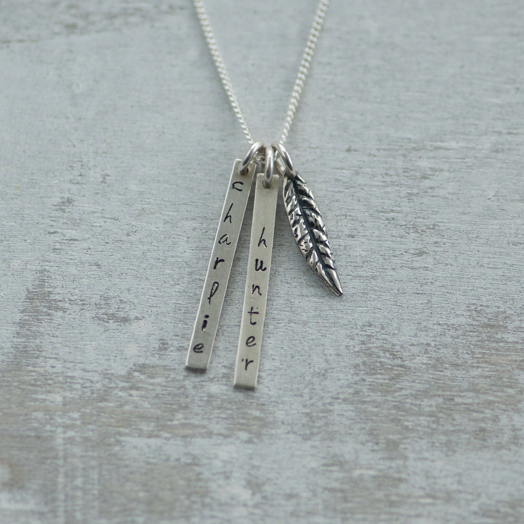 Bar Name Necklace with Leaf