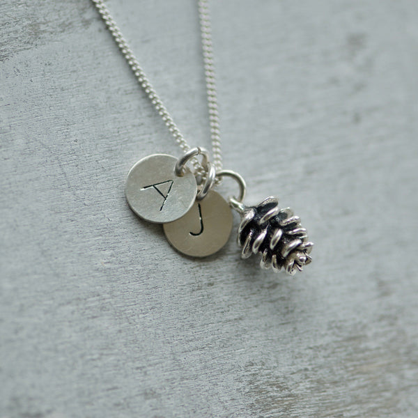 Initial Charm Necklace with Pinecone