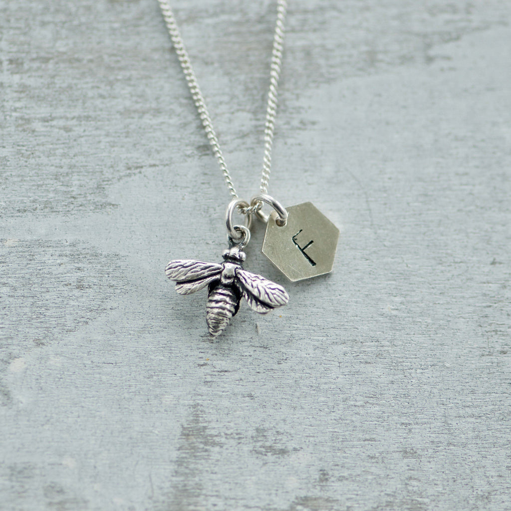 Initial Charm Necklace with Bee