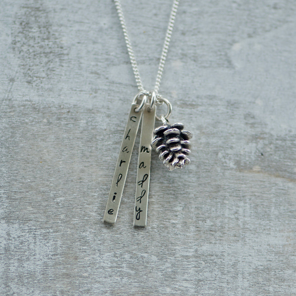 Bar Name Necklace with Pinecone