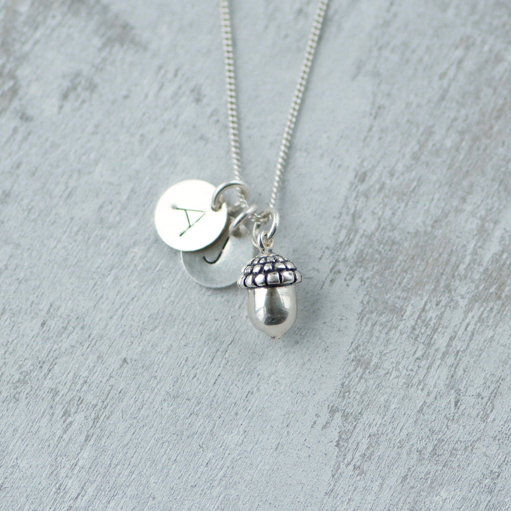 Initial Charm Necklace with Acorn