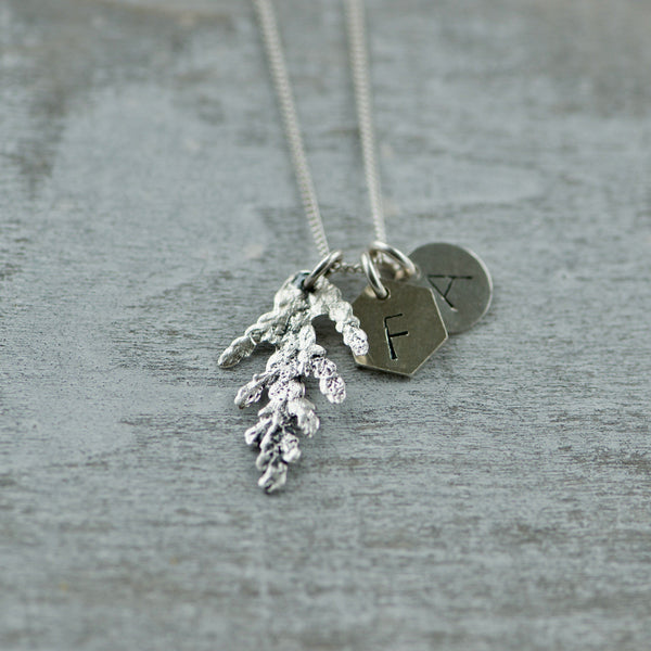 Initial Charm Necklace with Cedar
