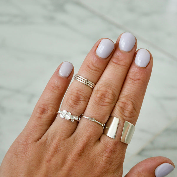 Hammered Midi Sterling Silver Rings