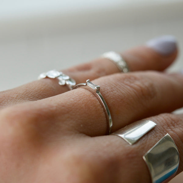 Asymmetrical Sterling Silver Dainty Ring