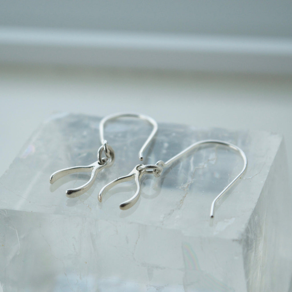 Tiny Wishbone Earrings
