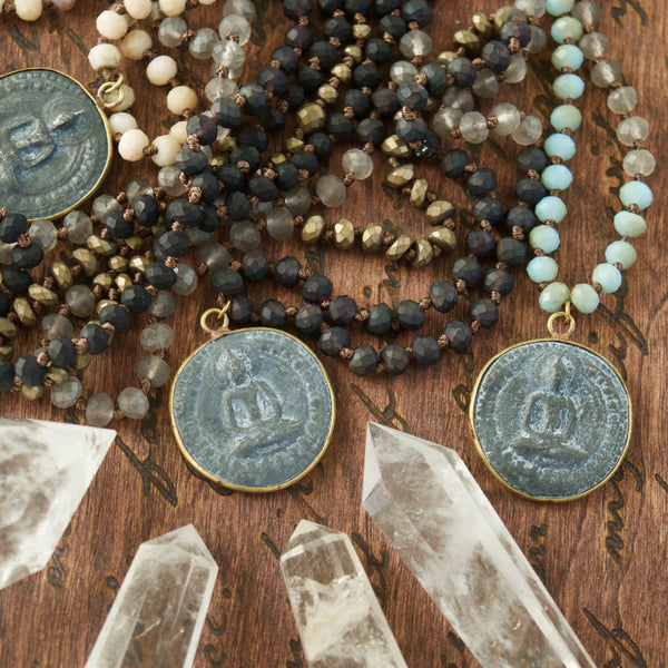 Short Grey Black Buddha Mala Necklace