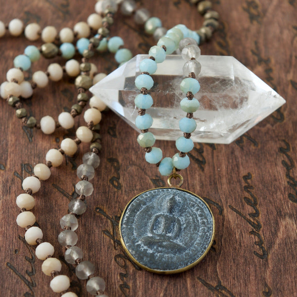 Single Aqua Buddha Mala Necklace