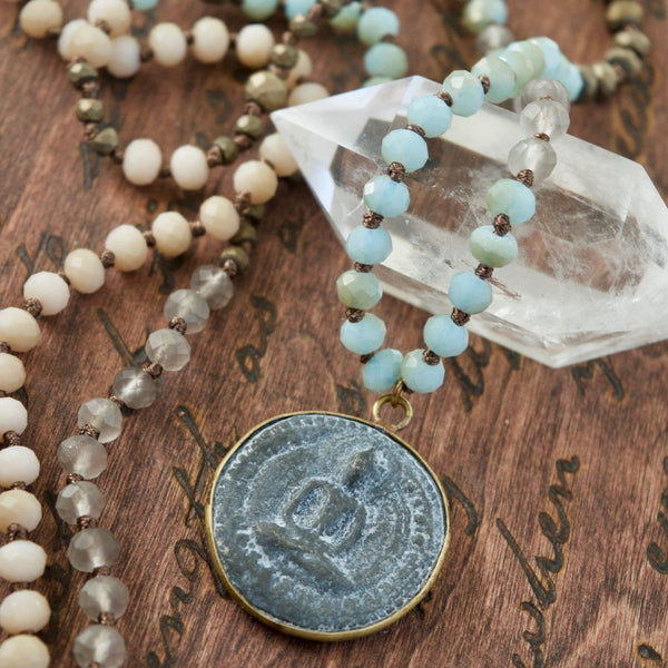Long Aqua Buddha Mala Necklace
