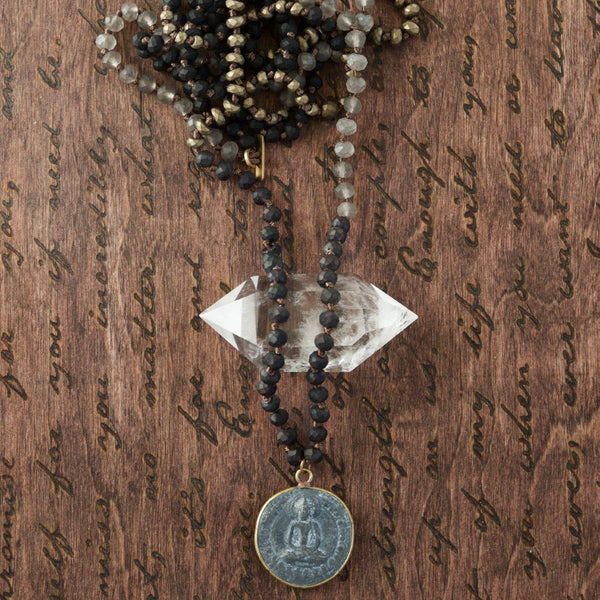 Long Grey Black Buddha Mala Necklace