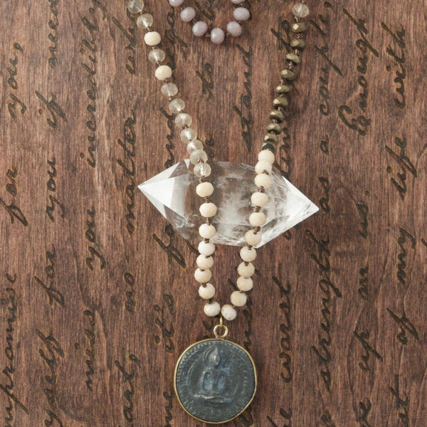 Single Rose Buddha Mala Necklace