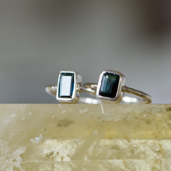 Baguette Forrest Green Tourmaline Ring