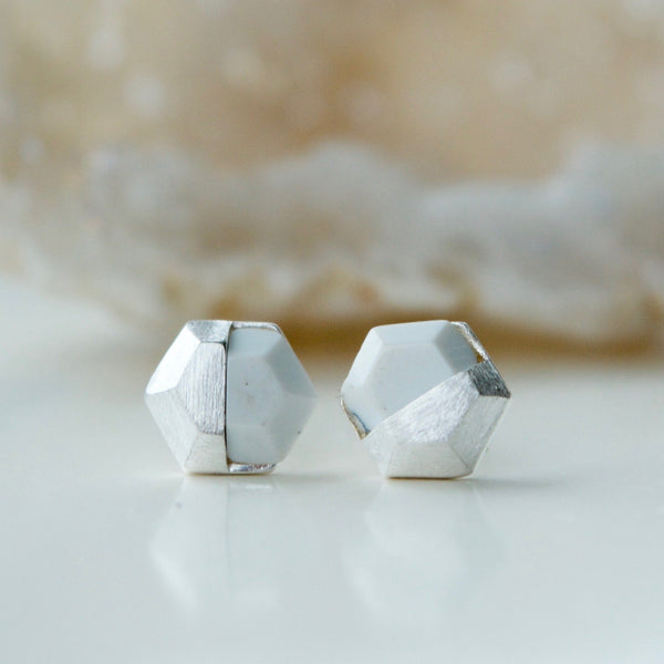 Hexagon White Silver Stud Earrings