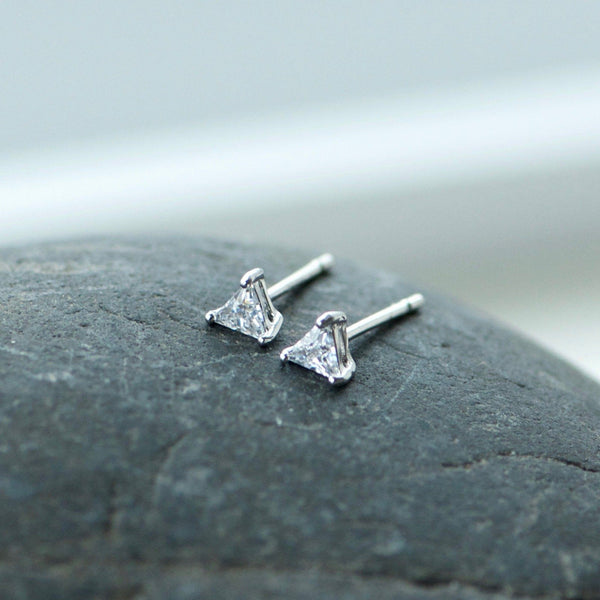 Tiny Triangle Silver Earrings