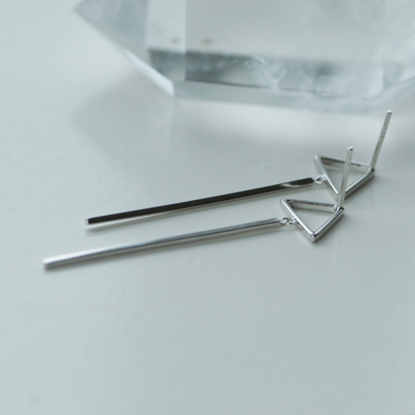 Silver Triangle Post Drop Earrings