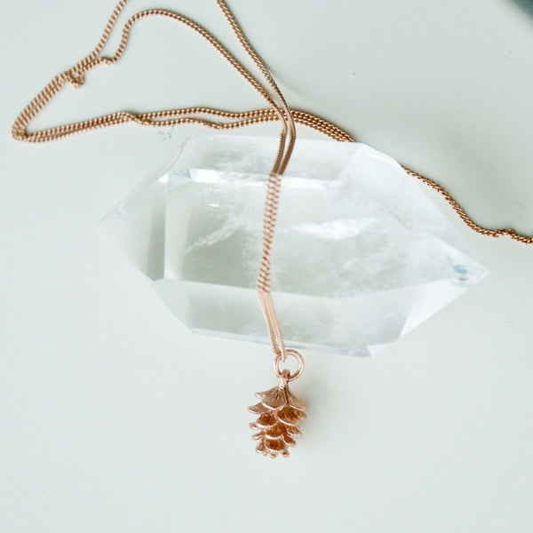 Rose Gold Tiny Pinecone Charm Necklace