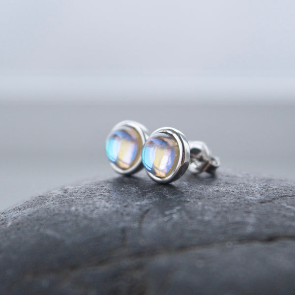 Silver Iridescent Moonlight Studs