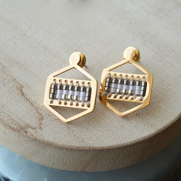 Beaded Hexagon Studs
