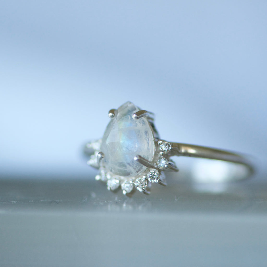 Star Burst Moonstone Ring