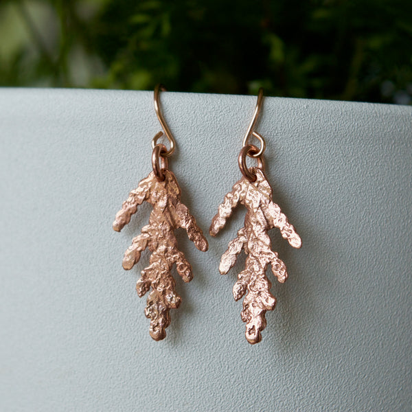 Tiny Cedar Earrings in Rose Gold