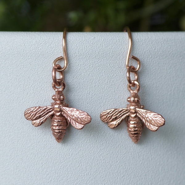 Tiny Bee Earrings in Rose Gold