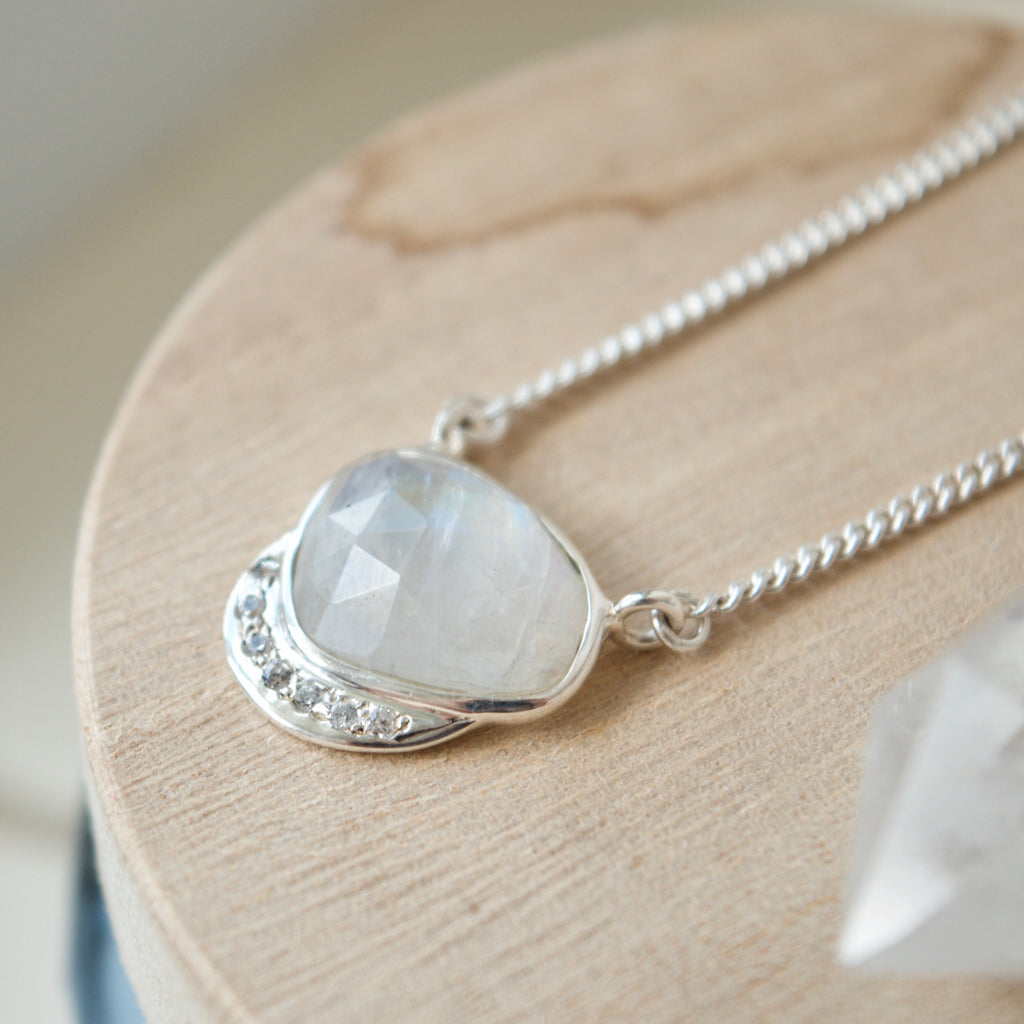 Star Crescent Moonstone Pendant