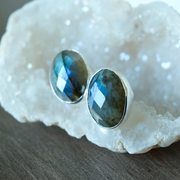 Oval Statement Studs in Labradorite