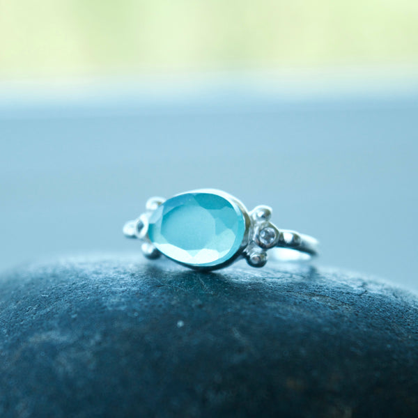 Galaxy Gemstone Ring with Chalcedony