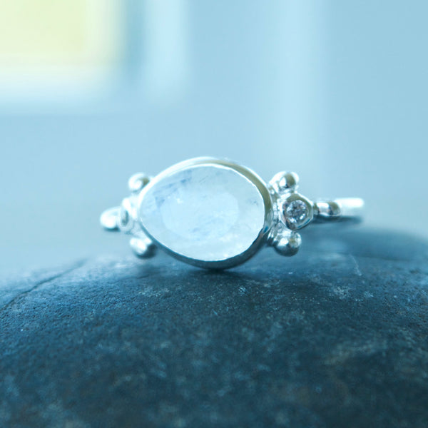 Galazy Gemstone Ring with moonstone