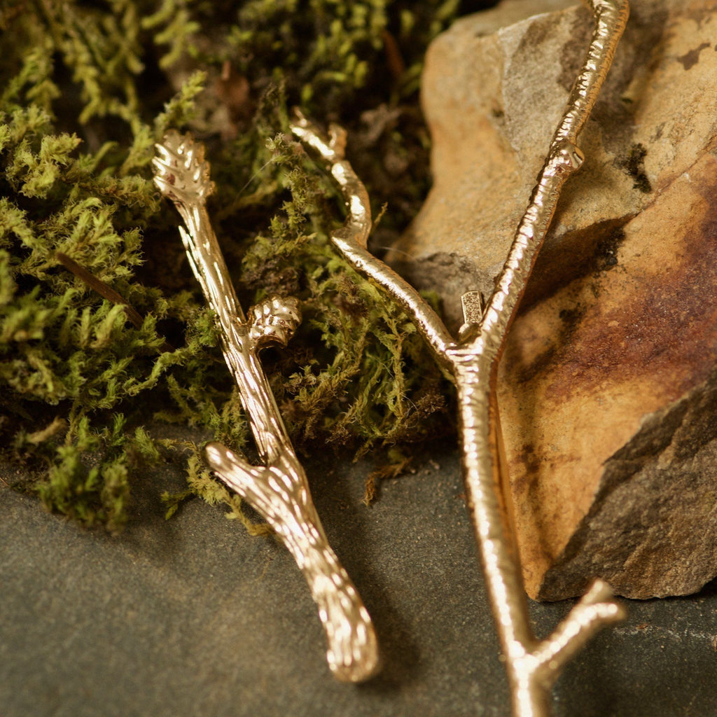 Gold Twig Hair Clips
